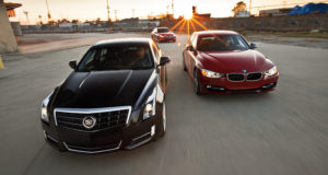 2012-bmw-335i-sport-2013-cadillac-ats-2013-mercedes-benz-c350-sport-front-end-in-motion